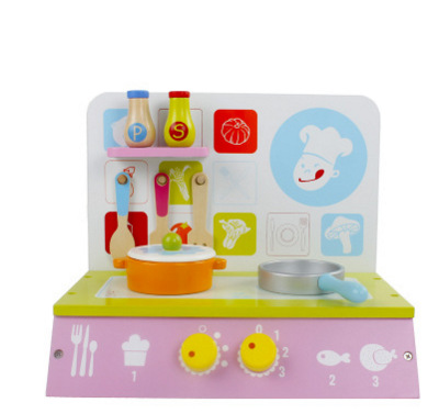 批发木制儿童做饭仿真厨房煤气灶台宝宝过家家套装新款益智玩具