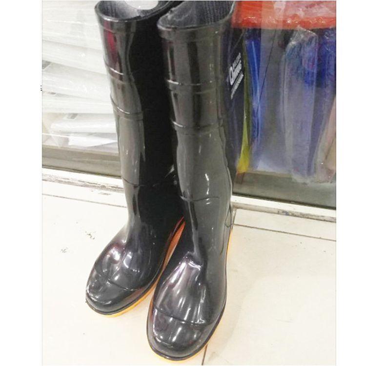 现货 低跟高筒雨鞋雨靴劳保 防水防滑耐磨水鞋  雨季纯色胶鞋批发