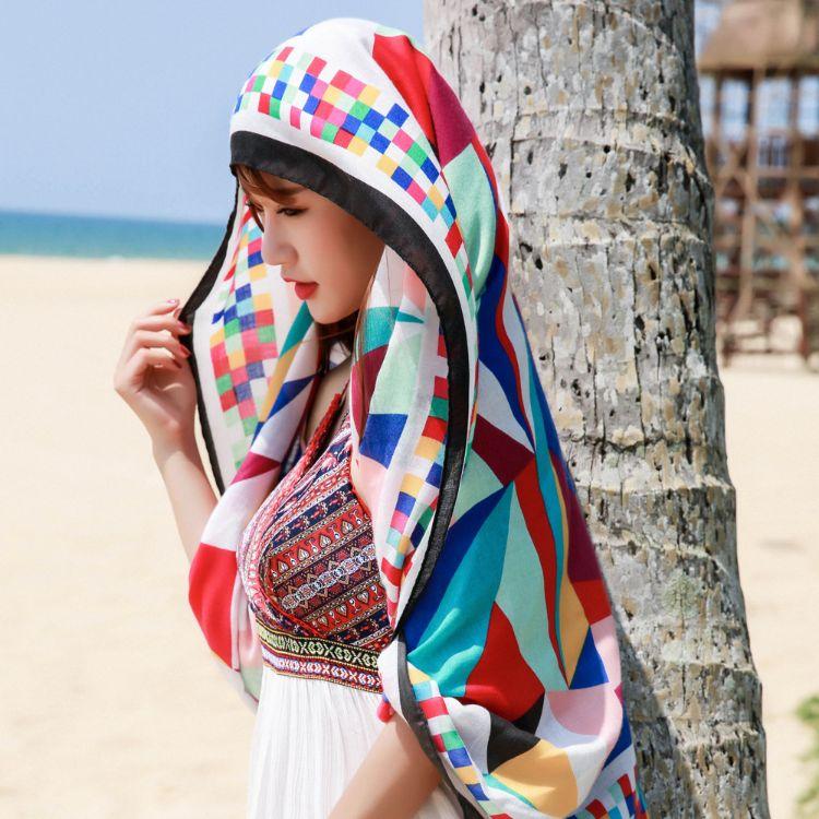 2018民族风波西米亚流苏彩色魔方围巾旅行海边防晒沙滩巾披肩围巾