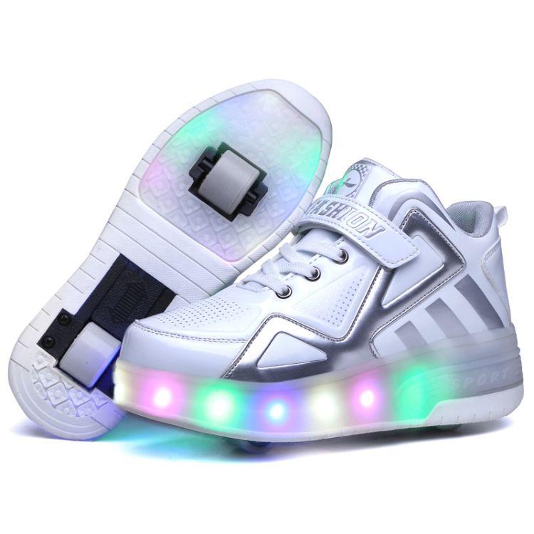 外贸溜冰鞋现货批发代发男女儿童成人爆走鞋单轮LED七彩灯厂家