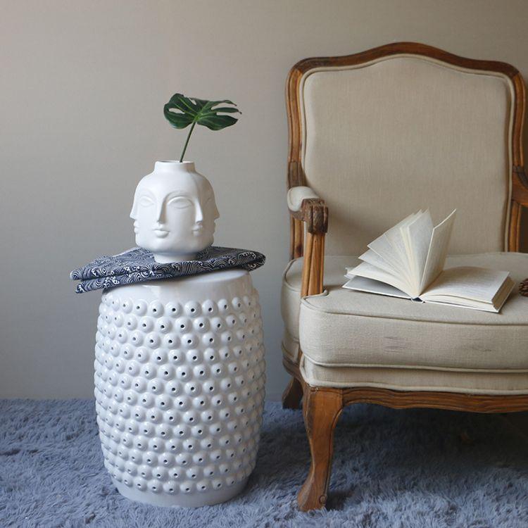 景德镇两色鼓点镂空陶瓷鼓凳 简约现代家居时尚风格陶瓷凳换鞋凳
