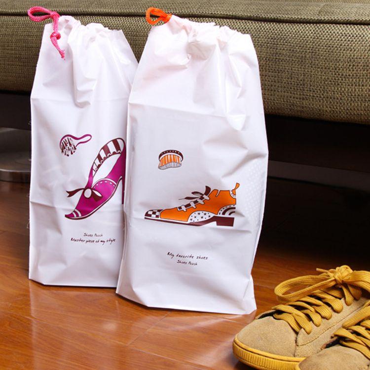 韩版防水鞋子收纳袋 2个装 PVC束口袋 旅行衣物杂 物自封袋 鞋