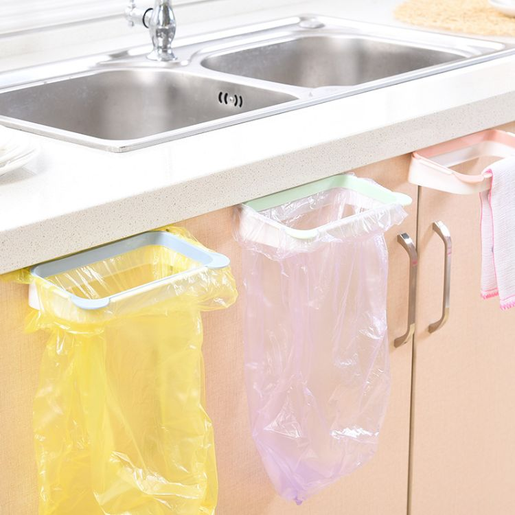 熊猫厨房置物架挂式垃圾袋支架 家用橱柜门后抹布挂架垃圾架