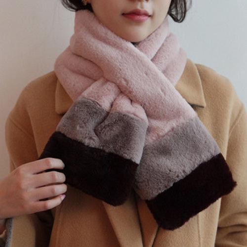 2018秋冬新款仿兔毛条纹拼色加厚围脖百搭保暖围巾围脖套头批发
