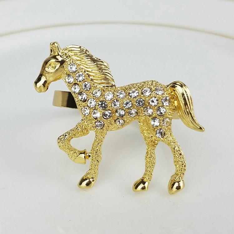 新款金色镶钻马儿餐扣奔腾的骏马餐巾环动物造型餐巾圈厂家直销