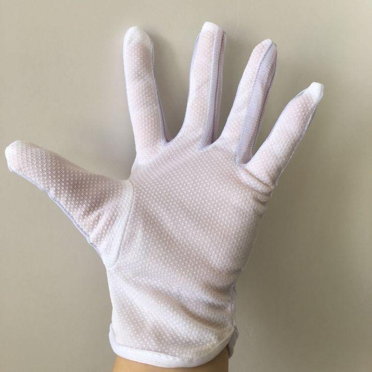 厂家批发防静电手套 四拼接指手掌点胶无尘洁净车间专用工作手套