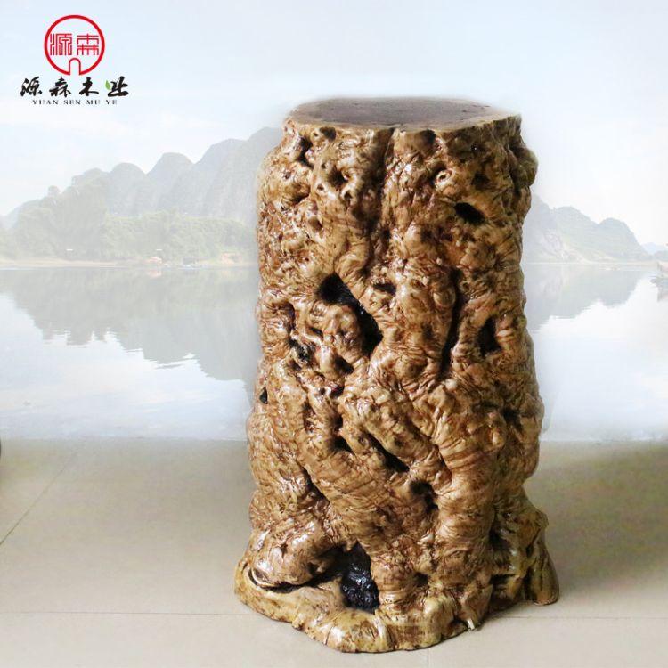 厂家直销中式实木树墩子原木创意随形枣木墩树桩30*30*45cm现货