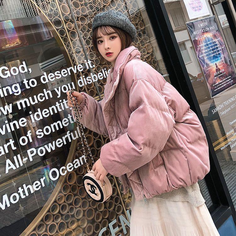 棉服女2018新款韩版冬季学生宽松短款棉袄灯芯绒外套ins棉衣女潮折扣女装尾货批发