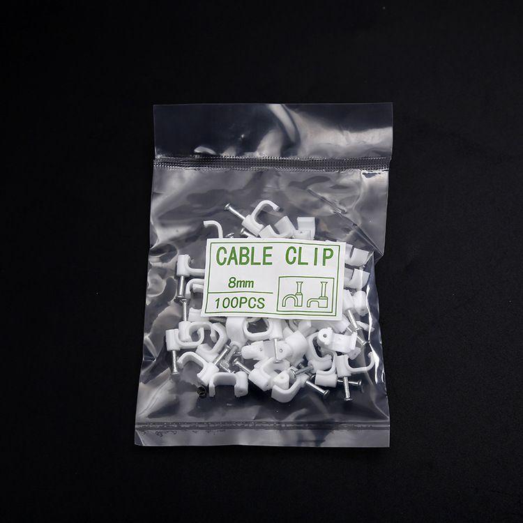 批发优质10mm环保电线网线钢钉线卡 白色方形塑料线扣