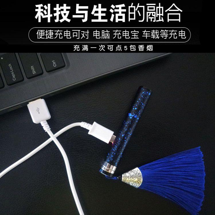 智能吹气感应打火机火折子USB充电吹1吹创意铝合金迷彩防风点烟器