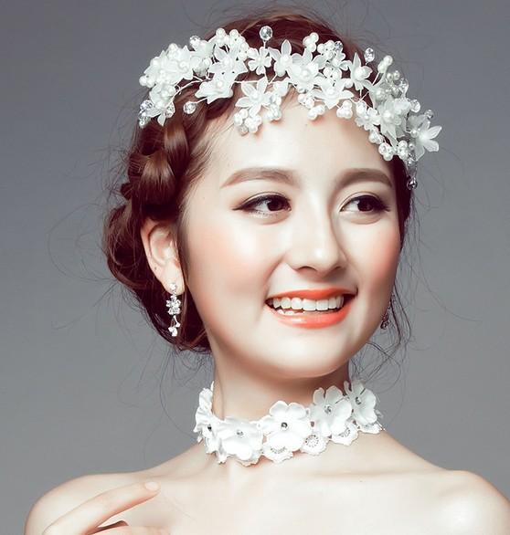 韩式新娘手工磨砂额饰发饰 演出礼服发饰珍珠发冠饰品