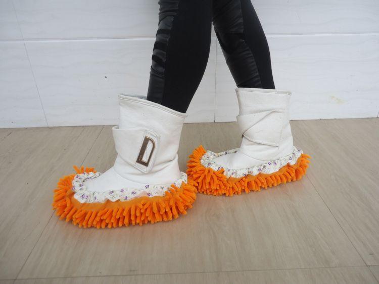 义乌厂家批发 雪尼尔拖地鞋套 多功能懒人擦地拖鞋 加厚单只价