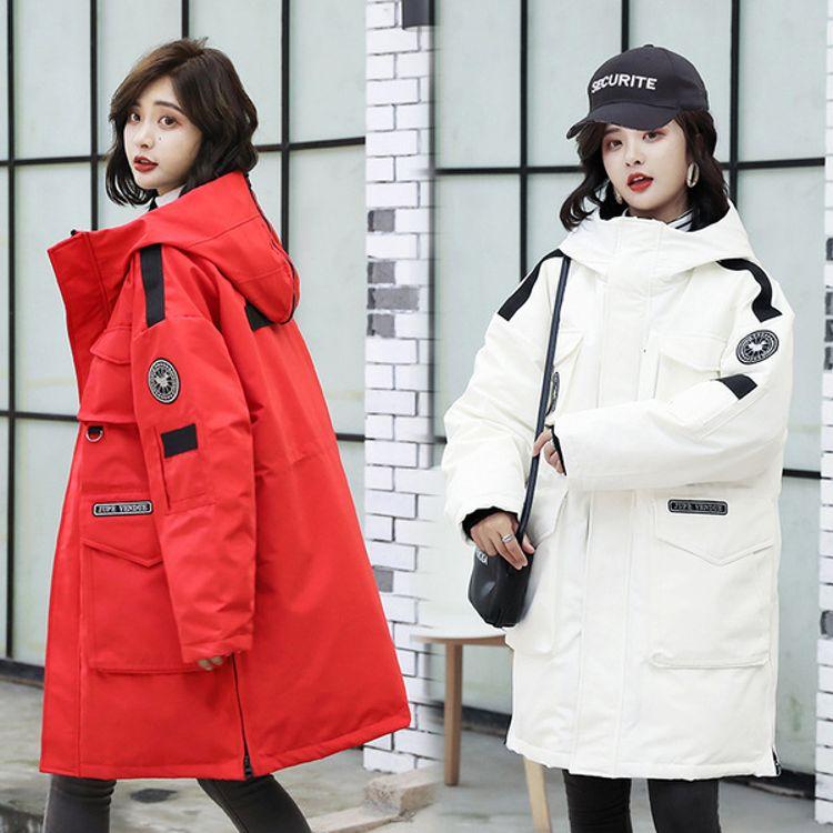 2018冬季新款韩版羽绒服男女同款工装加厚棉服长款外套