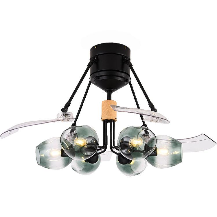 新款马卡龙隐形吊扇灯风扇灯客厅餐厅简约现代带灯的风扇分子魔豆