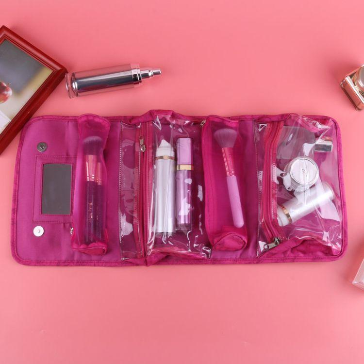粉色少女旅行洗漱收纳防尘化妆包多功能手提式定制加印logo化妆包