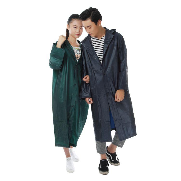 厂家直销 创意情侣雨衣 时尚大衣式防水长衣 按扣劳保户外雨衣