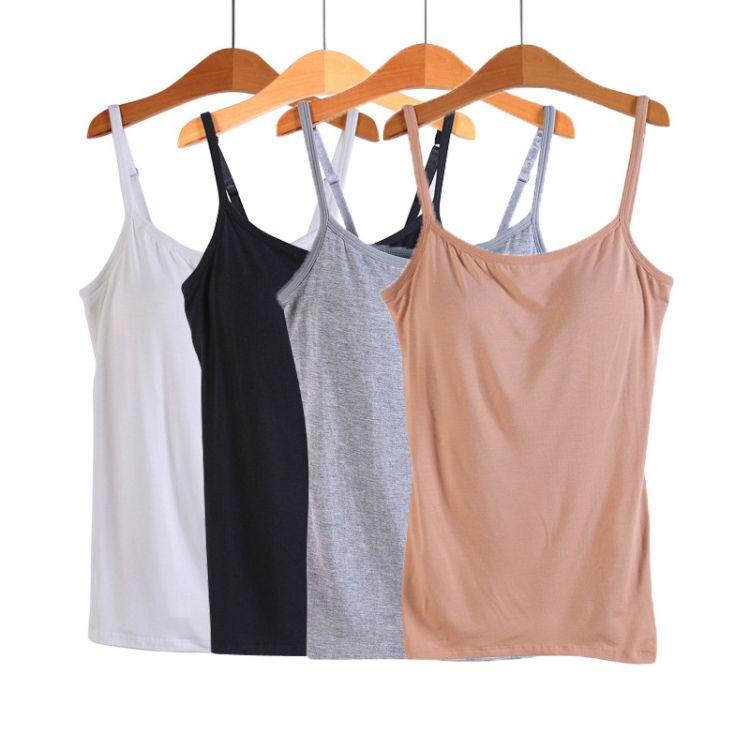 莫代尔带胸垫吊带背心女无钢圈免文胸罩杯一体瑜伽运动修身打底衫