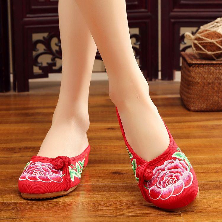 红牡丹拖鞋侧云头盘扣装饰中国风绣花帆布夏彩色布鞋凉拖鞋女