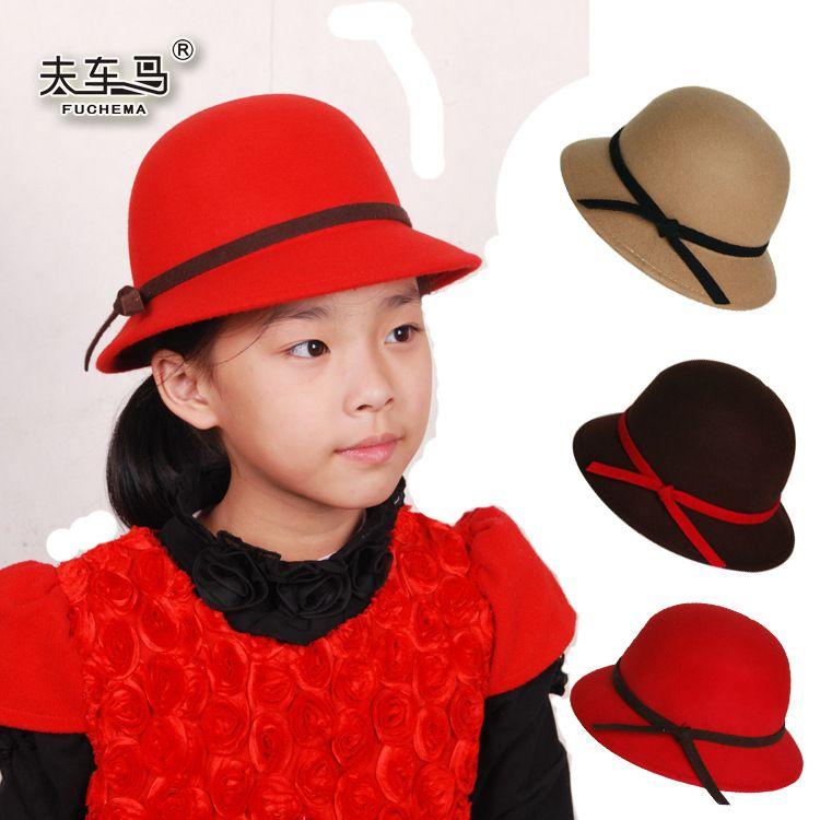 厂家直销夫车马可爱儿童羊毛呢小礼帽羊毛帽女童帽亲子帽