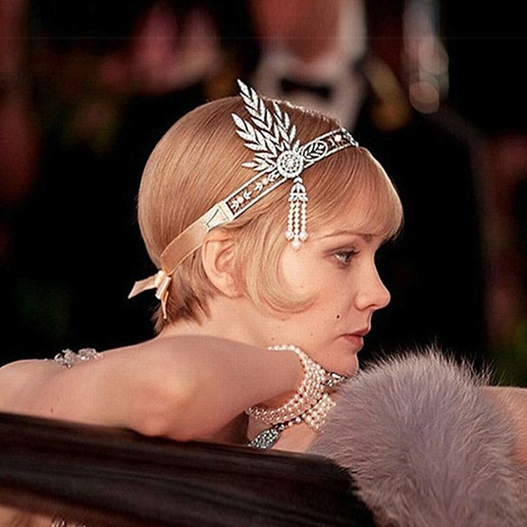睿娜 高档新娘皇冠盖茨比珍珠头饰流苏发箍皇冠跨境饰品货源