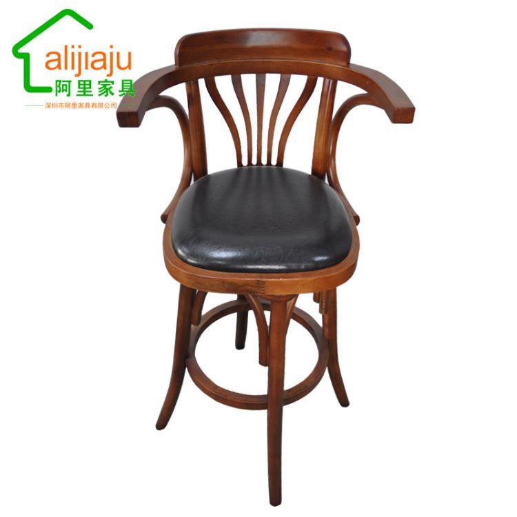 复古餐桌椅实木厂家靠背酒吧台桌椅 前台椅 主题餐厅高脚可旋转椅