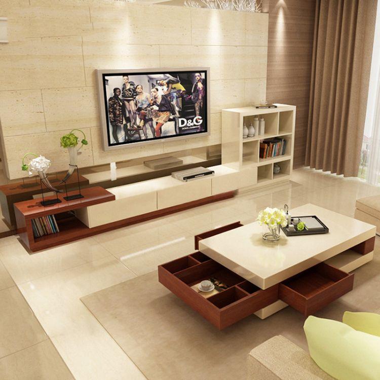 现代北欧电视柜时尚可伸缩电视柜现代客厅家具成套组合柜