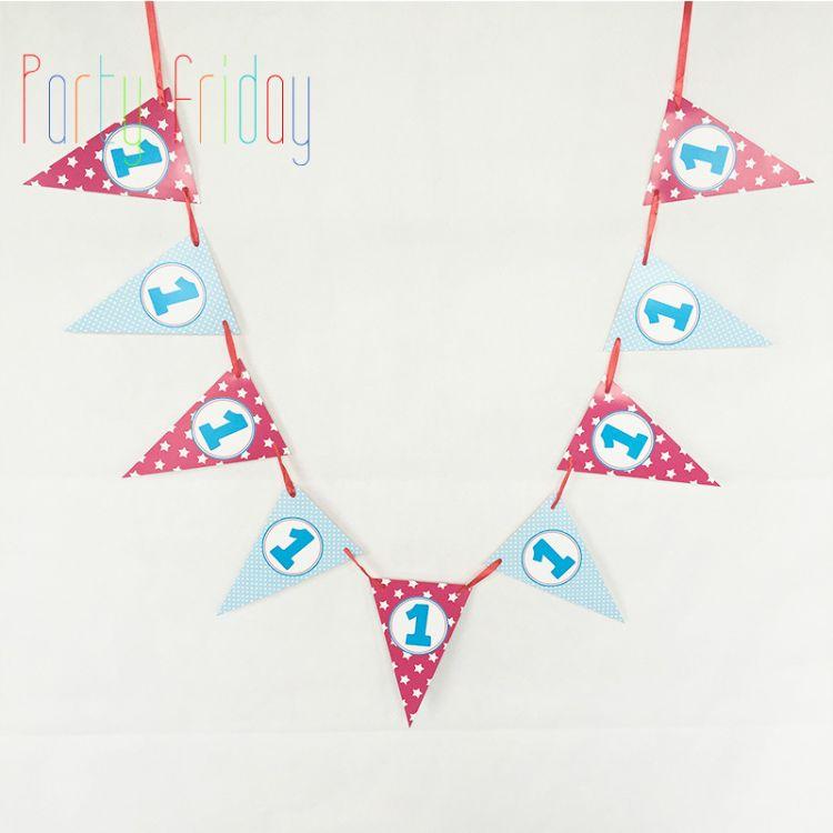 圆点蓝玫红色三角旗周岁百天生日宝宝儿童装饰拉条欧美出口原单