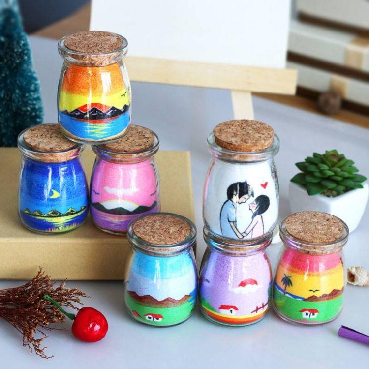 个性沙瓶画成品 玻璃手工艺术摆件 情人圣诞节可爱礼物精品店货源
