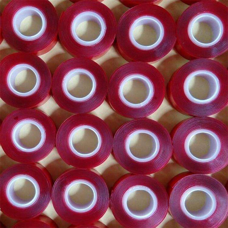 小管芯红膜透明VHB双面胶红膜灰VHB亚克力小管芯双面胶厂家订做