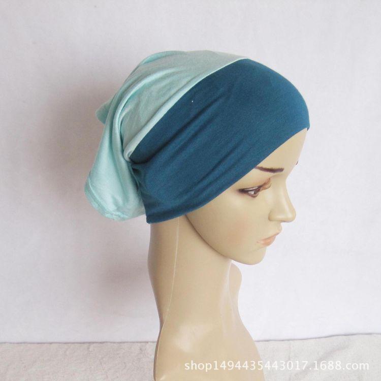 厂家直销穆斯林打底帽 拼色汗布打底修脸帽 回族印度民族打底帽