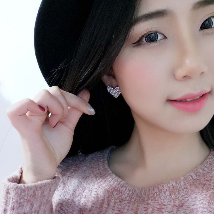韩国气质个性百搭圆圈圈桃心爱心镶钻长款耳钉耳圈耳环女耳饰品