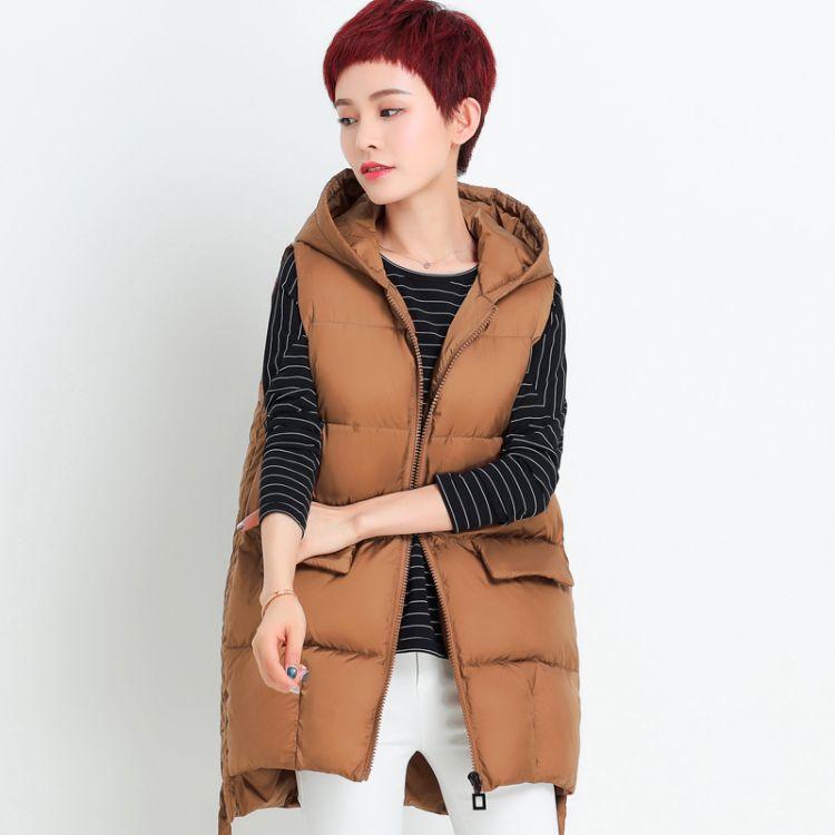 中老年女装秋冬马甲中长款连帽丝棉加厚夹棉马夹大码背心坎肩外套