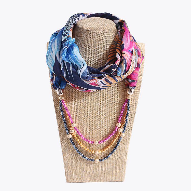 速卖通欧美热销新款春秋服饰围脖雪纺珍珠服装配件女项链头巾