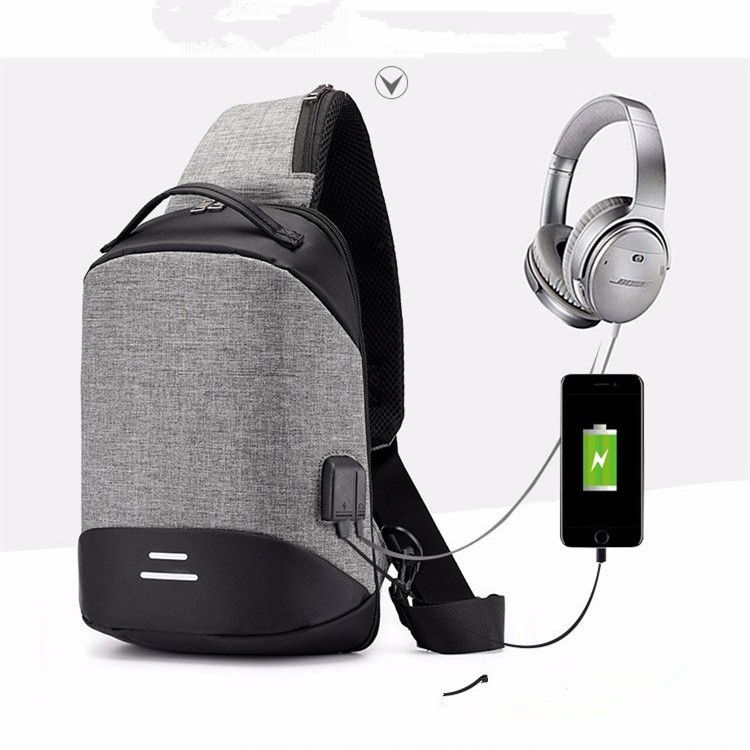 创意款智能USB充电胸包男韩版风范斜挎包时尚撞色单肩包一件代发
