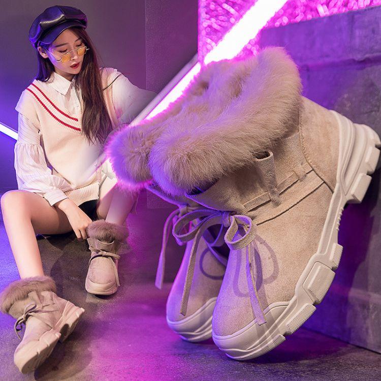 2018新款韩版雪地靴女短靴加绒兔毛女靴冬季棉鞋短筒靴子清仓特卖