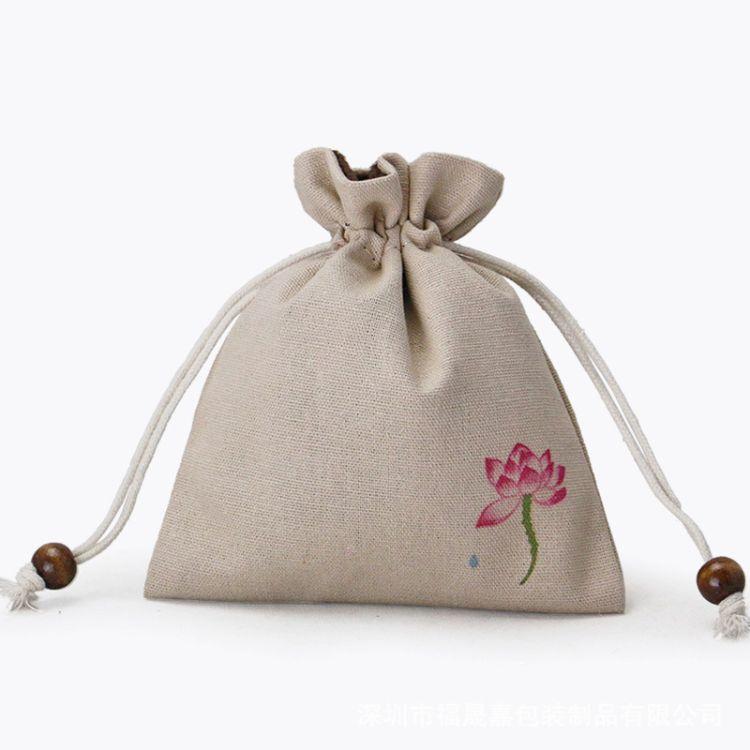 佛珠绒布袋文玩收纳袋 抽拉绳抽口小布袋 手串袋麻布首饰品福袋