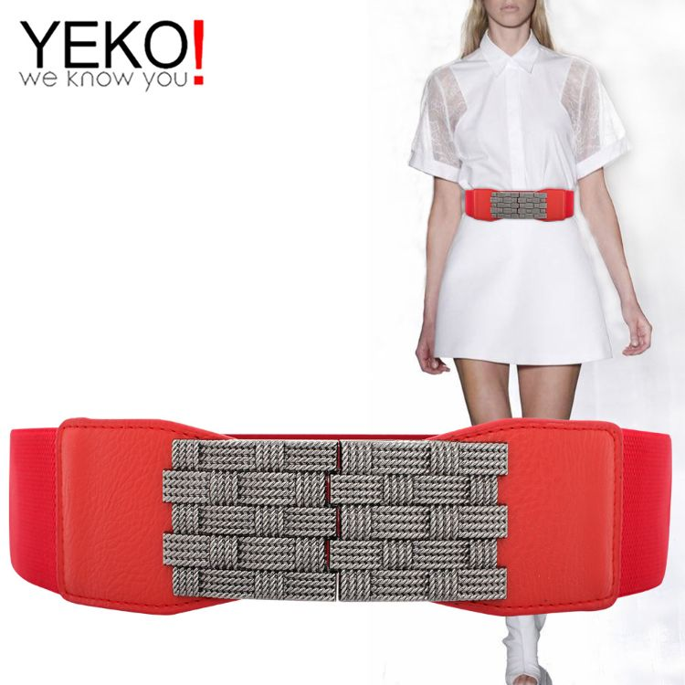 YEKO新品女士腰带编织勾扣弹力带百搭优美宽腰封女装饰衬衫裙大衣