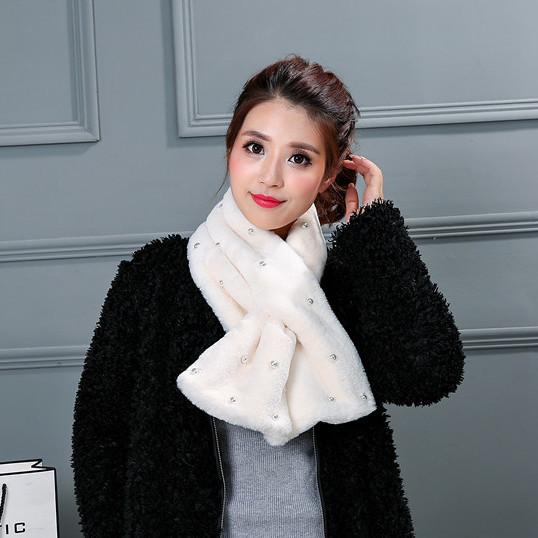 秋冬季韩版珍珠仿獭兔毛围脖保暖加厚学生纯色毛领子脖套围巾女