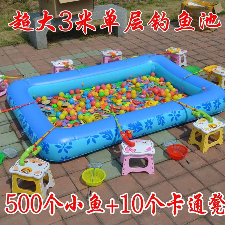 单层加厚儿童玩具钓鱼池 充气沙滩池 沙池决明子池 充气游泳池