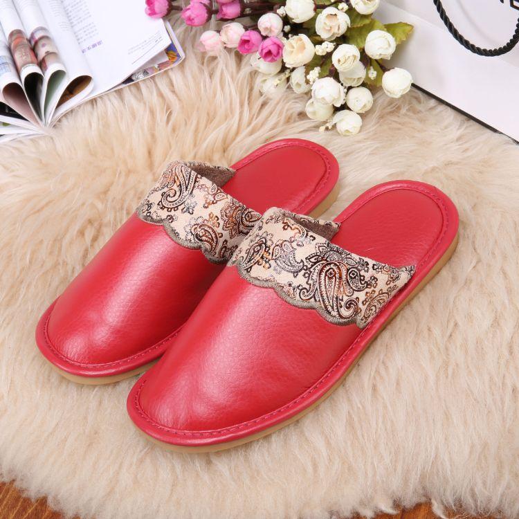新款保暖休闲时尚棉拖鞋厂家直销 防滑牛筋底保暖家居牛皮拖鞋
