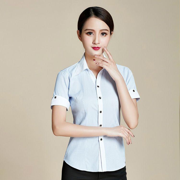 衬衫女短袖2018工作服正装女士女式职业衬衣订做男女同款工装