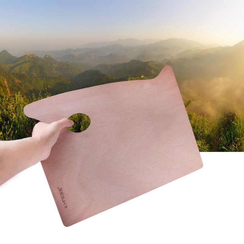 30*40cm优质木质方形带手握油画调色板丙烯颜料板美术调色工具