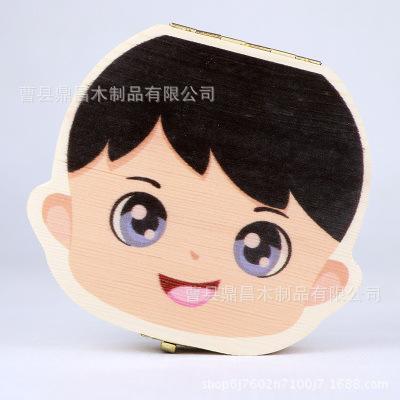 木质乳牙盒彩绘中英文女孩男孩宝宝胎毛收藏礼品盒儿童纪念盒