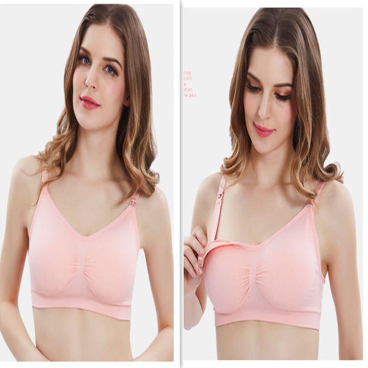 厂家直销无缝舒适上开扣孕妇内衣后排扣 防下垂哺乳喂奶文胸