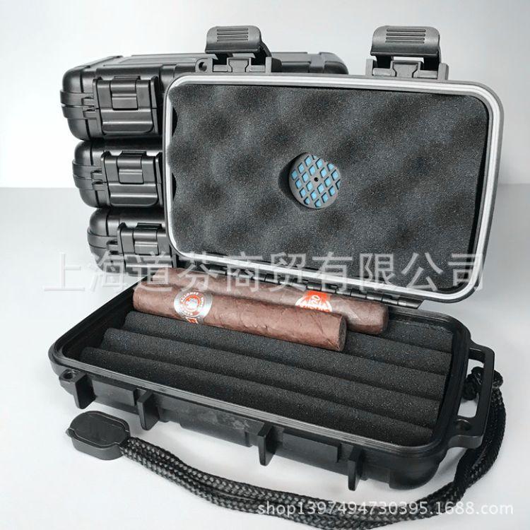 高端含保湿器塑料5只装黑色雪茄烟包装盒保湿盒便携防水烟具批发