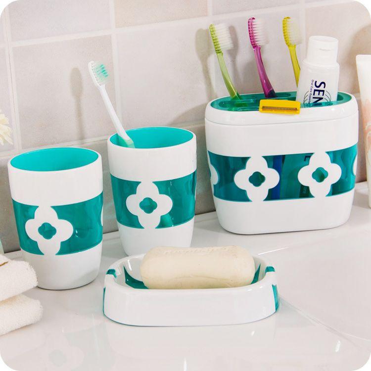 厂家供应塑料ps精美浴室四件套 洗漱套装牙刷架漱口杯肥皂盒