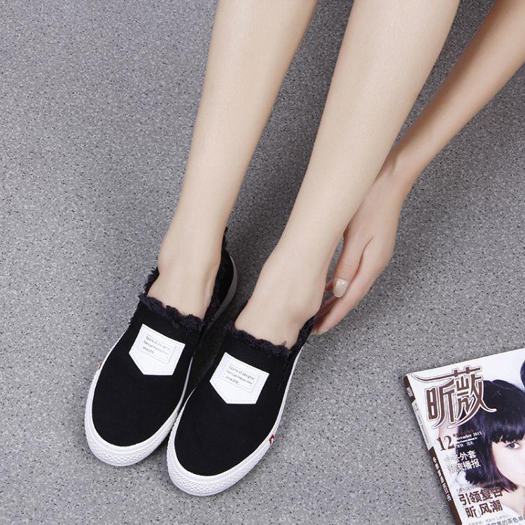 2017秋季休闲鞋女韩版纯色平跟牛仔布帆布女鞋圆头流苏甜美单鞋
