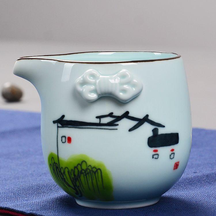 艺颂手绘青公道杯景德镇陶瓷分茶器茶海匀杯公杯功夫茶具零配特价
