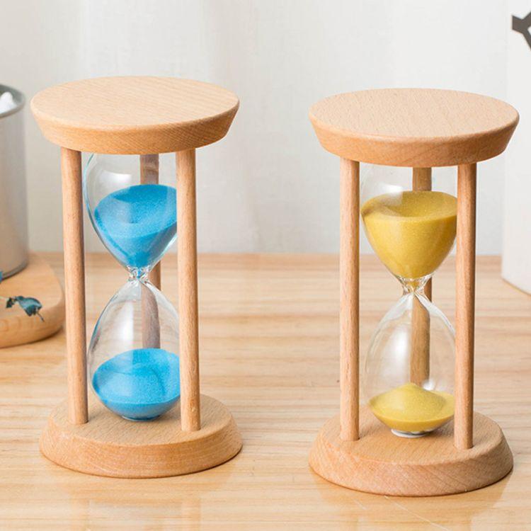 彩色沙漏计时器儿童防摔刷牙计时器时光木质沙漏创意家居摆件礼物