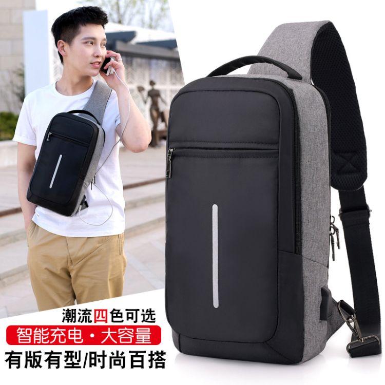 厂家直销时尚潮流斜挎包USB充电防盗胸包男女式单肩包小背包